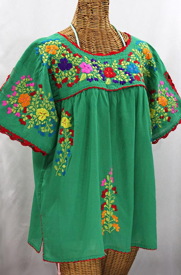 """Lijera Libre"" Plus Size Mexican Blouse -Green + Spring Multi"