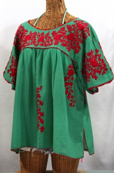 """Lijera Libre"" Plus Size Embroidered Mexican Blouse -Green + Red"