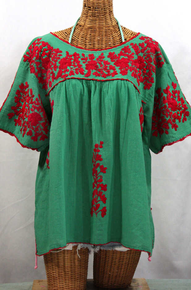 """""""Lijera Libre"""" Plus Size Embroidered Mexican Blouse -Green + Red"""