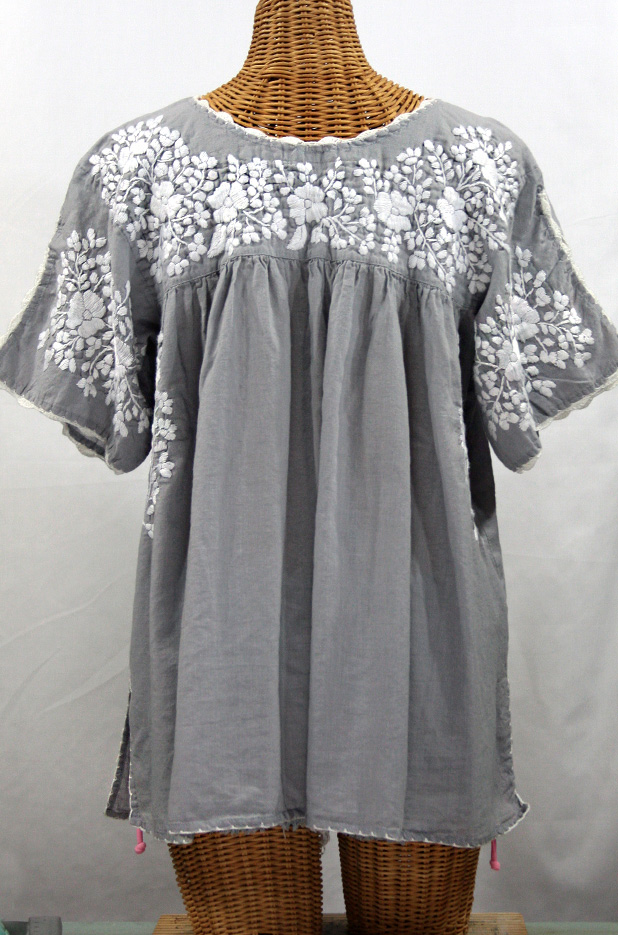 """""""Lijera Libre"""" Plus Size Embroidered Mexican Blouse -Grey + White"""