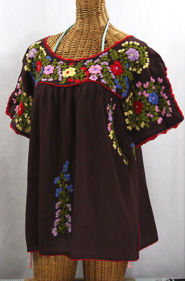 """Lijera Libre"" Plus Size Embroidered Peasant Top -Brown + Red Trim"