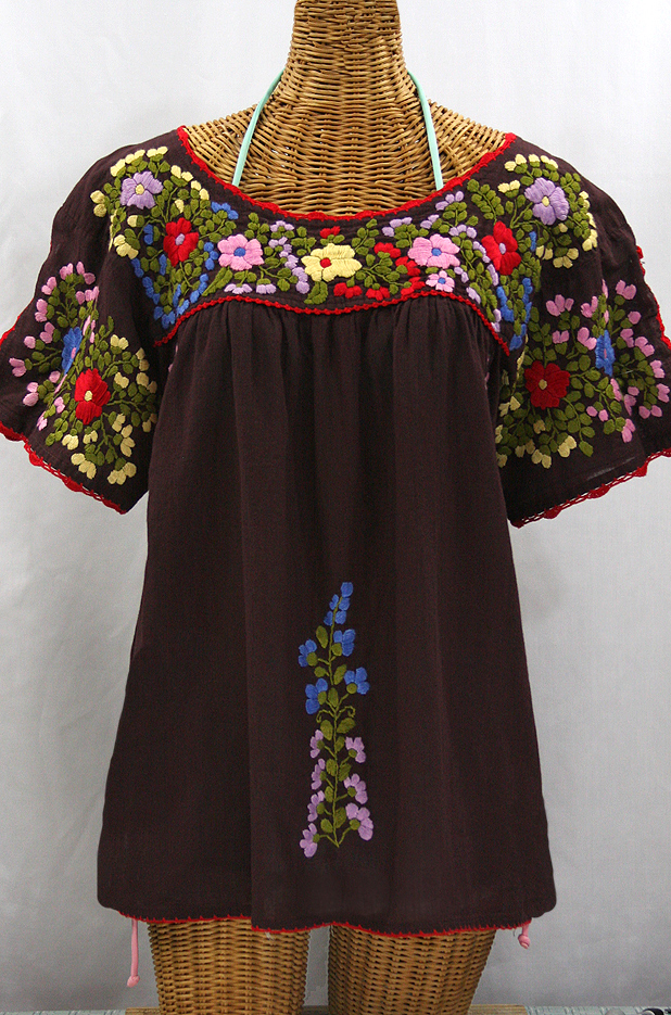 """Lijera Libre"" Plus Size Embroidered Peasant Top -Brown + Red Trim"