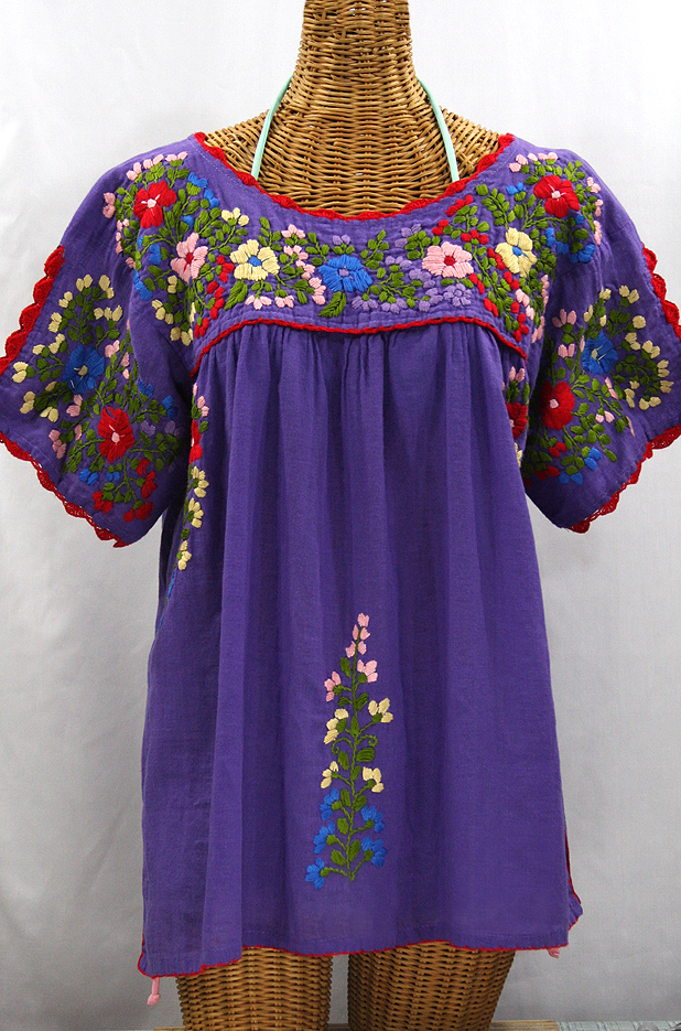 """Lijera Libre"" Plus Size Embroidered Peasant Top -Purple + Red Trim"