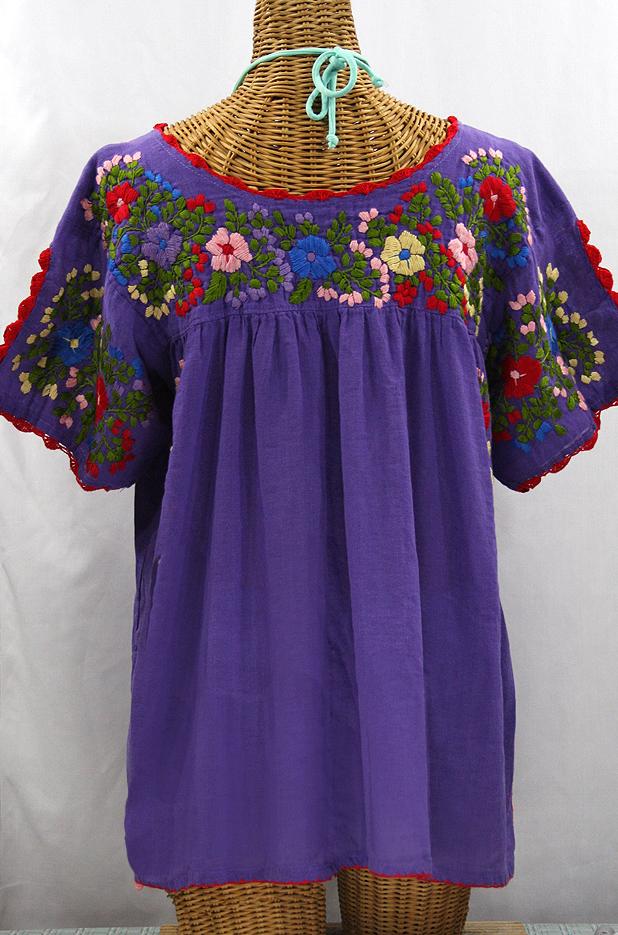 """Lijera Libre"" Plus Size Embroidered Peasant Top -Purple + Red Trim"