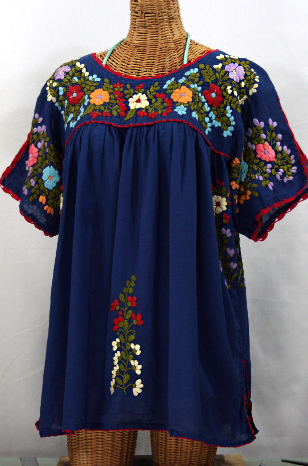 """Lijera Libre"" Plus Size Peasant Blouse -Denim Blue"