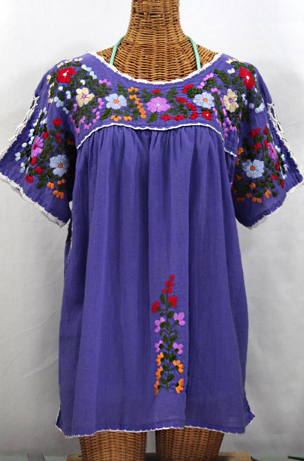 """""""Lijera Libre"""" Plus Size Embroidered Blouse -Purple"""