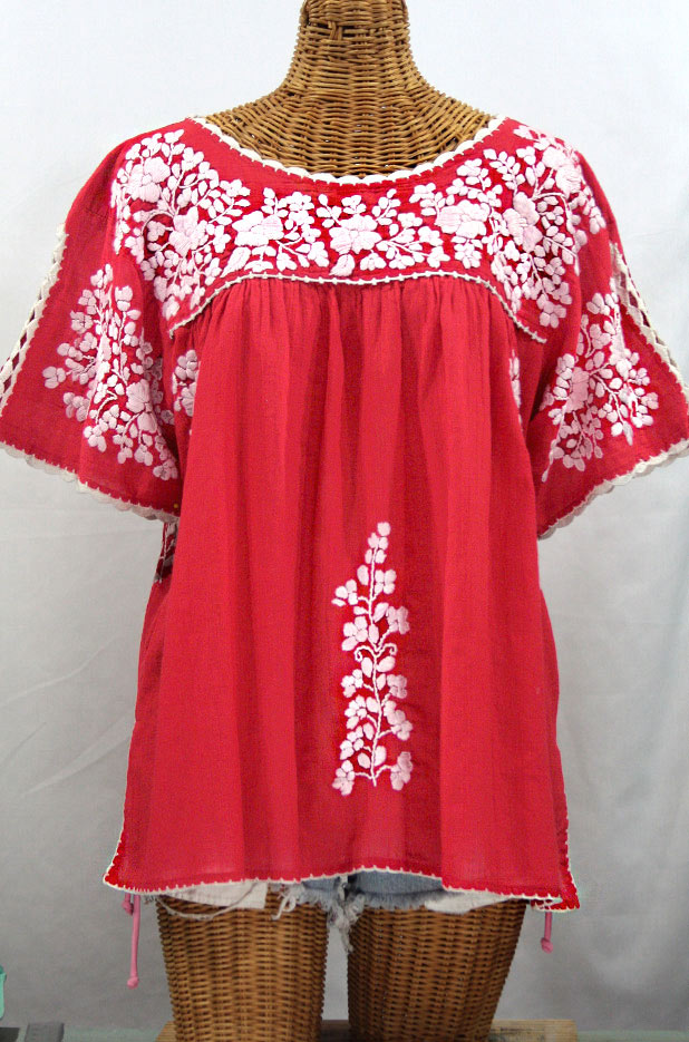 """Lijera Libre"" Plus Size Embroidered Mexican Blouse -Tomato Red + White"