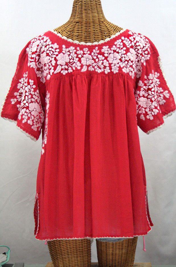 """Lijera Libre"" Plus Size Embroidered Mexican Blouse -Tomato Red + White"