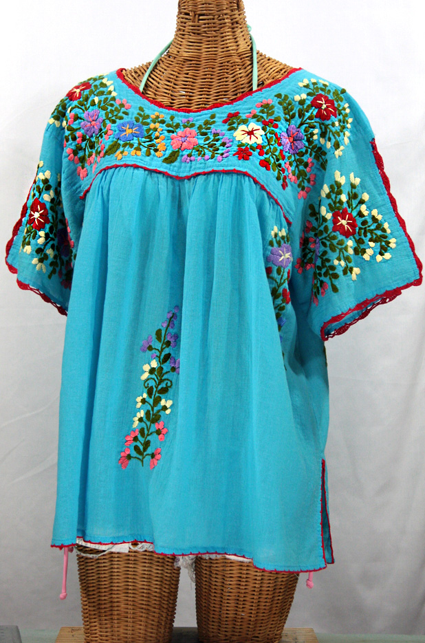 """Lijera Libre"" Plus Size Embroidered Mexican Blouse -Aqua"