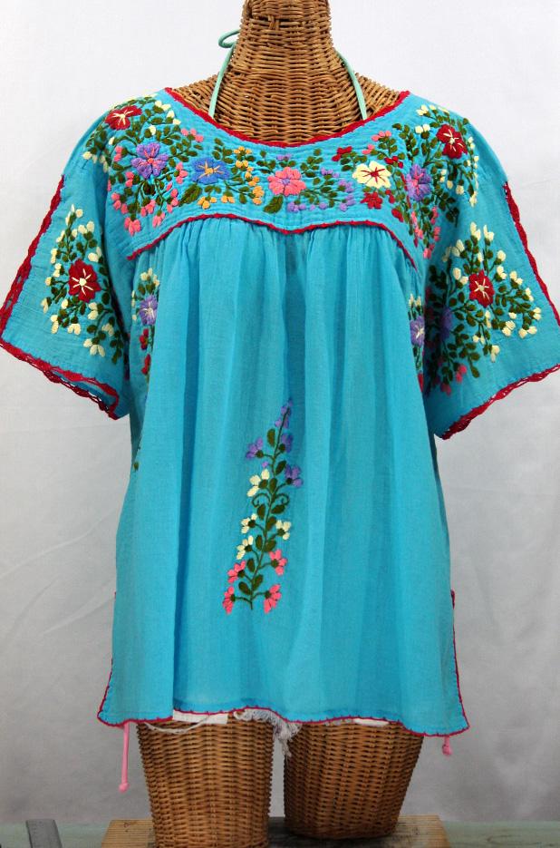 """""""Lijera Libre"""" Plus Size Embroidered Mexican Blouse -Aqua"""