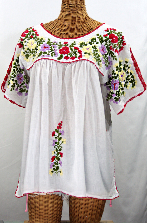 """Lijera Libre"" Plus Size Embroidered Mexican Blouse -White + Multi"