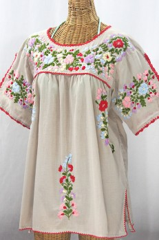 """Lijera Libre"" Plus Size Embroidered Mexican Blouse - Greige + Multi"