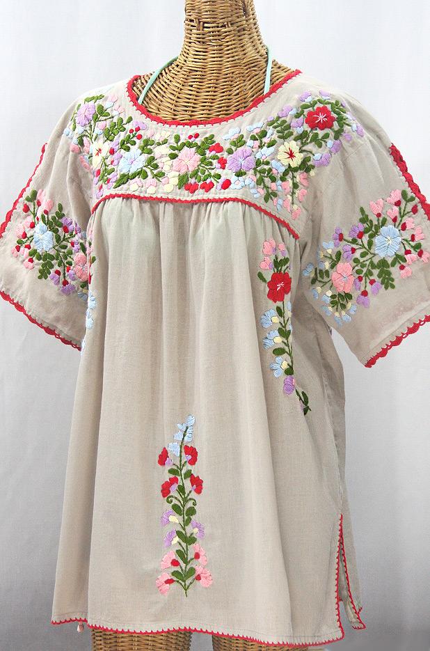 """Lijera Libre"" Plus Size Embroidered Mexican Blouse - Greige + Multi"