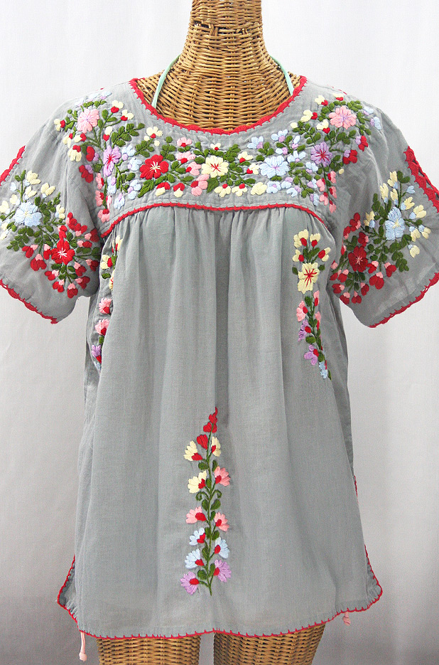 """Lijera Libre"" Plus Size Embroidered Peasant Top -Grey + Red Trim"