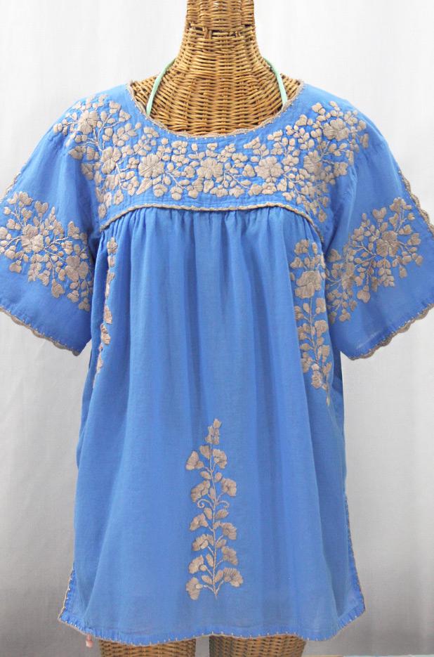 """Lijera Libre"" Plus Size Embroidered Mexican Blouse - Light Blue + Cocoa"