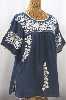 """Lijera Libre"" Plus Size Embroidered Mexican Blouse - Navy Blue + Cream"