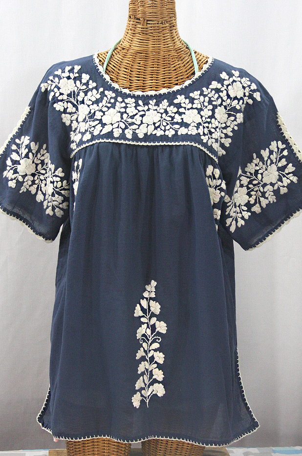 """""""Lijera Libre"""" Plus Size Embroidered Mexican Blouse - Navy Blue + Cream"""