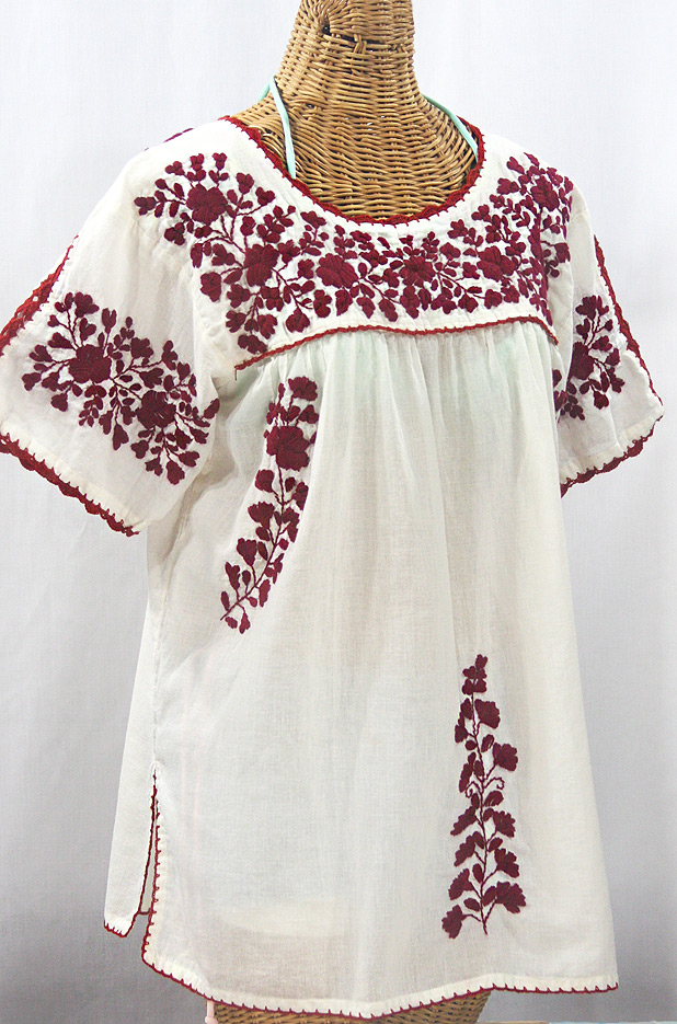 """""""Lijera Libre"""" Plus Size Embroidered Mexican Blouse - Off White + Burgundy"""
