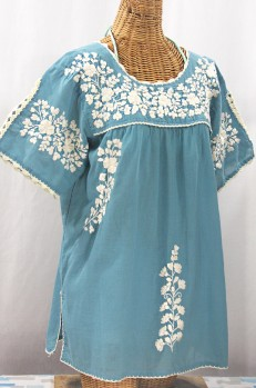 """Lijera Libre"" Plus Size Embroidered Mexican Blouse - Pool Blue + Cream"