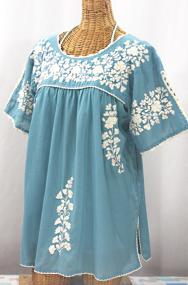 """Lijera Libre"" Plus Size Embroidered Mexican Blouse - Pool Blue + Cream"