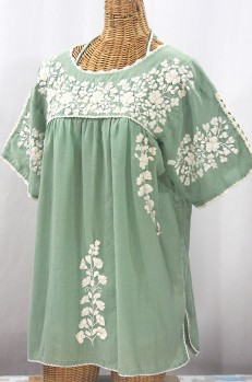"""Lijera Libre"" Plus Size Embroidered Mexican Blouse - Sage Green + Cream"