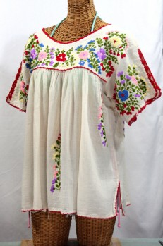 """Lijera Libre"" Plus Size Embroidered Mexican Peasant Top -Off White"