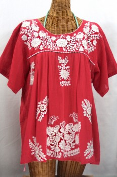 """La Mariposa Libre"" Plus Size Mexican Peasant Blouse - Tomato Red"