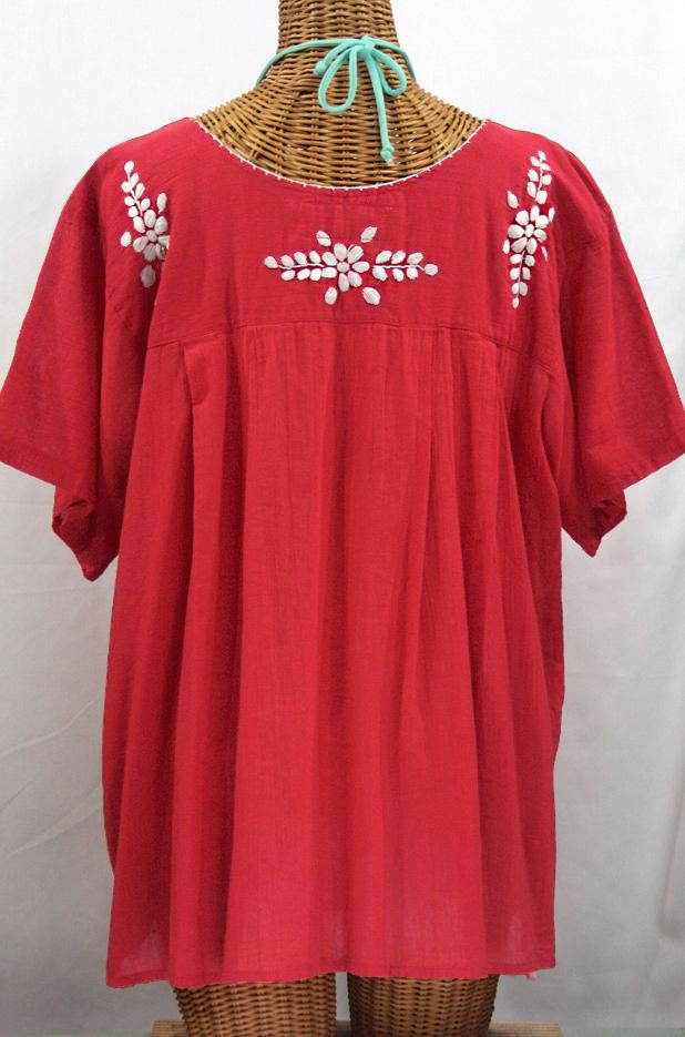 """""""La Mariposa Libre"""" Plus Size Mexican Peasant Blouse - Tomato Red"""